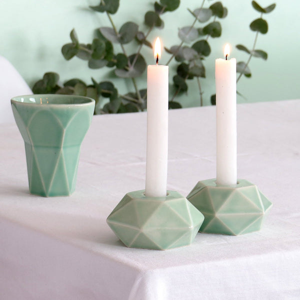 Modern Shabbat  Set, Hexagon Shabbat Candlesticks+ Kiddush Cup, Minimalist Design, Light Green Ceramic