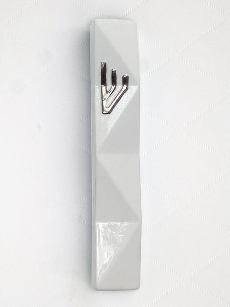 Mezuzah case - White with silver Shin - Large size - for 4.8'' scroll