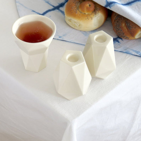Minimalist Shabbat  Set, Pair of Pentagon Shabbat Candlesticks+ Kiddush Cup, Minimalist Design, Geometric Style