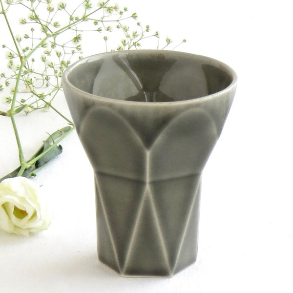 Modern Shabbat  Set, Pentagon Shabbat Candlesticks+ Kiddush Cup, Minimalist Design, Grey Ceramic