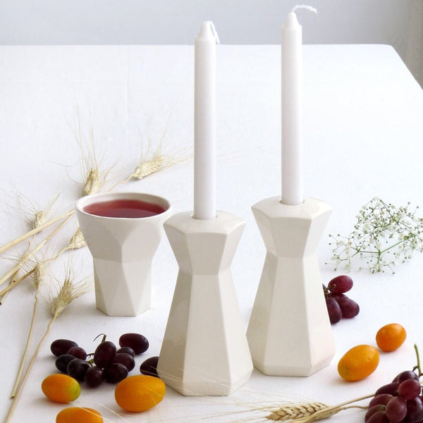 geometric candlesticks and kiddish cup