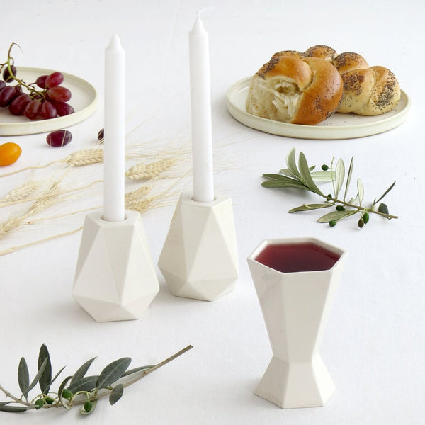 Modern Shabbat  Set, Pair of Pentagon Shabbat Candlesticks+ Kiddush Cup, Minimalist Design, Geometric Style