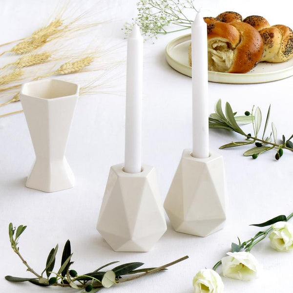 Jewish Gift for Bat Mitzvah - Shabbat Candlesticks and kiddish cup