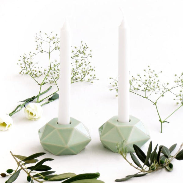shabbat candlesticks light green ceramic - modern judaica