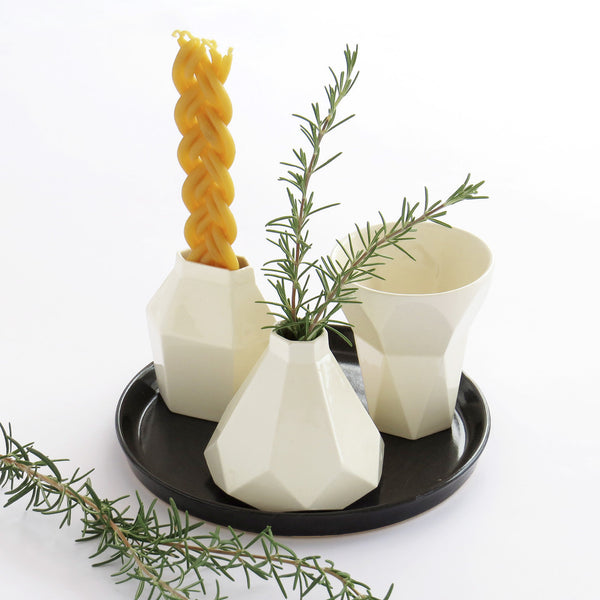 Ceramic Havdalah Set - White Ceramic Cup, Candleholder, Besamim Spices Holder and Black Plate