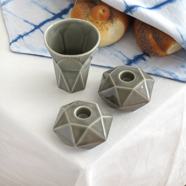 Modern Shabbat  Set, Hexagon Shabbat Candlesticks+ Kiddush Cup, Minimalist Design, Grey Ceramic