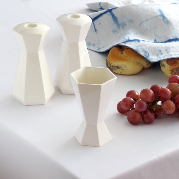 Modern Judaica Set, Shabbat  Set, Pair of Shabbat Candlesticks+ Kiddush Cup, Minimalist Design, Geometric Style