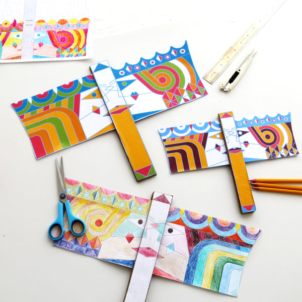 5 Sets of Purim Activity for all family - Create a Vashti and Esther Flag -Large (15.5''x10'')- for Feminist Reading of the Megillah