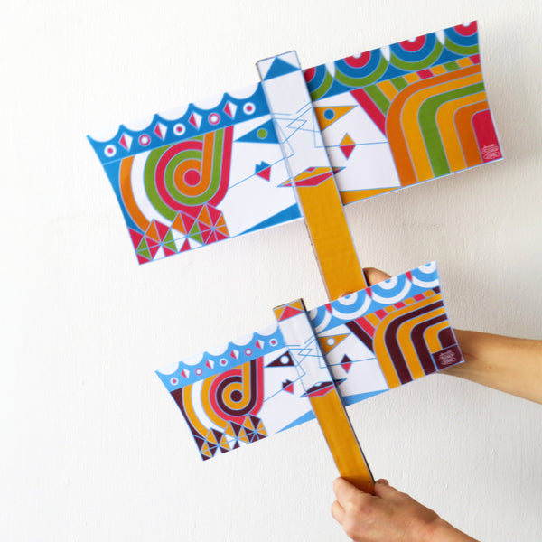 Create your Purim Flag  - DIY Activity - Vashti and Esther Flag - Large (15.5''x10'') - Coloring Project for a Feminist Reading of Megillah