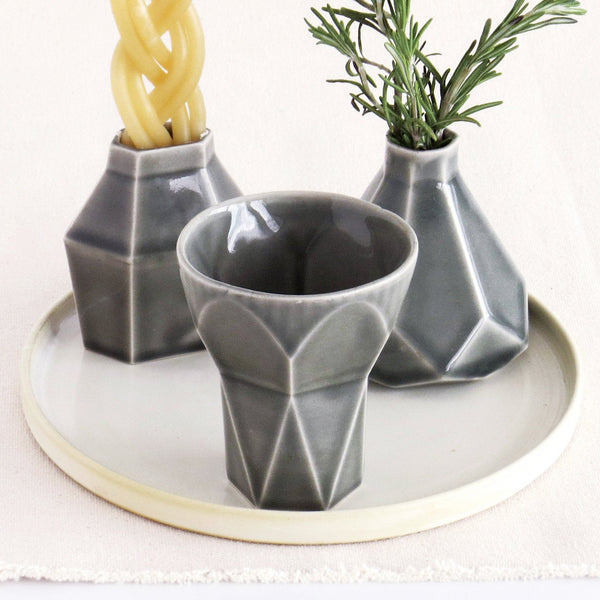 Havdalah Set - Grey Ceramic Cup, Candle holder, Besamim (Spices) Holder and Cream Plate