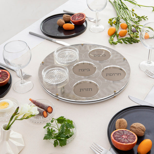 Modern Seder Plate - Set of  Golden Acrylic tray with 6 Glass Plates | New release - Short term pre sale