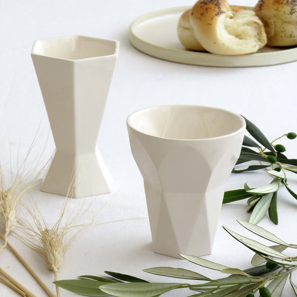 modern kiddush cup - off white ceramic handmade in israel
