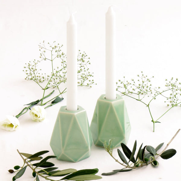 Modern Shabbat  Set, Pentagon Shabbat Candlesticks+ Kiddush Cup, Minimalist Design, Light Green Ceramic