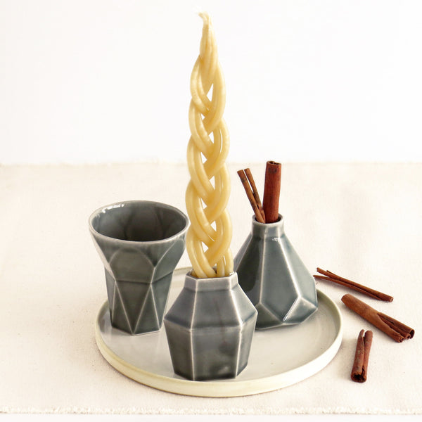 Havdalah set in grey ceramic - contemporary judaica minimalist design