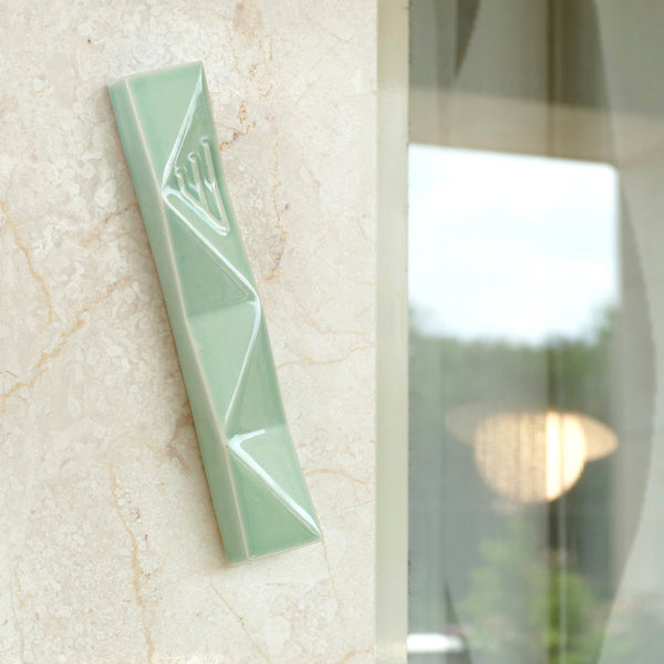 Large Mezuzah case for front door, modern geometric style