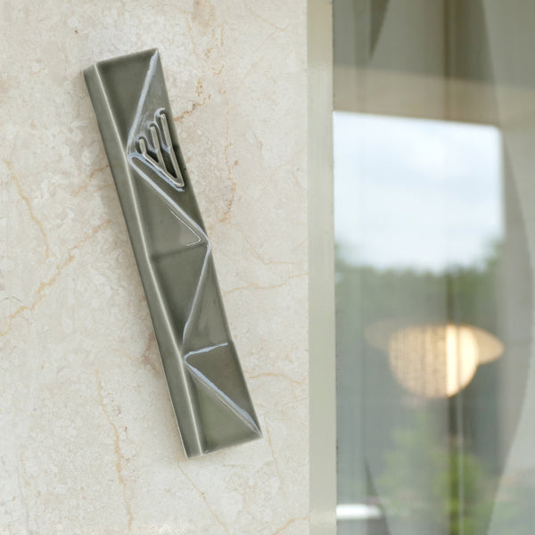 mezuzah case, grey ceramic, inspired by origami