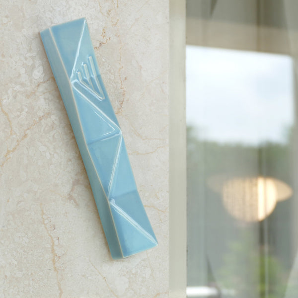 Modern mezuza, LIGHT blue ceramic,, geometric design