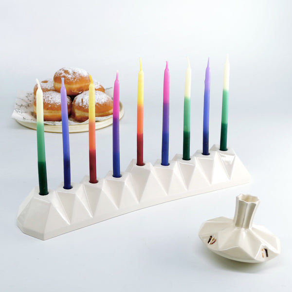 contemporary Judaica - geometric ceramic menorah