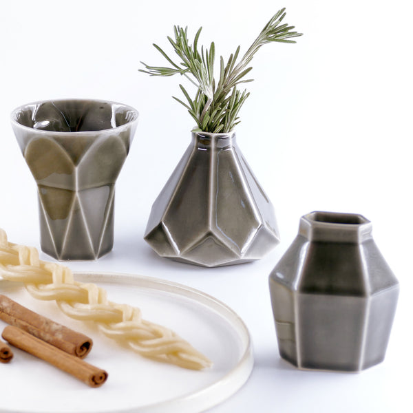Havdalah Set - Grey Ceramic Cup, Candle holder, Besamim Spices Holder and Cream Plate