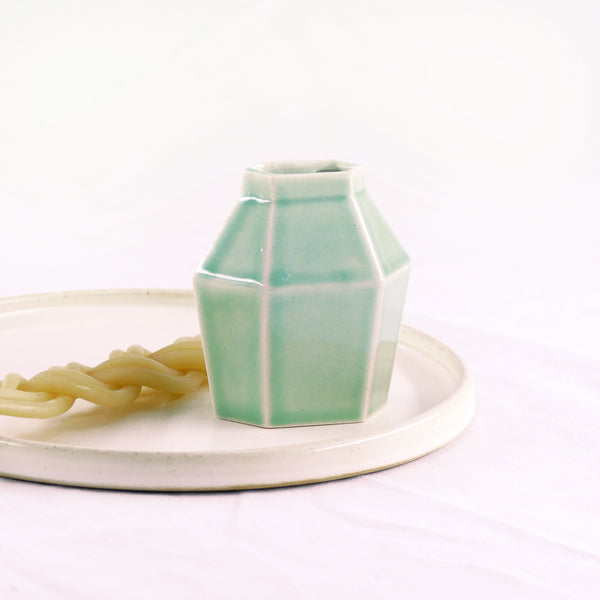 Havdalah Set - Light Green Ceramic Cup, Candle holder, Besamim Spices Holder and Cream Plate