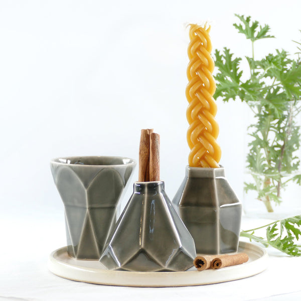 Modern havdalah set - geometric ceramic
