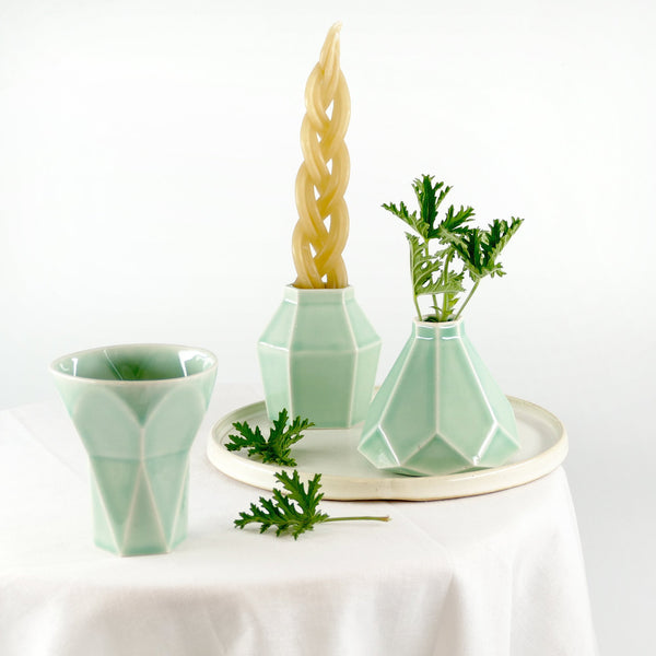 modern havdalah set, contemporary judaica, modern geometric ceramic