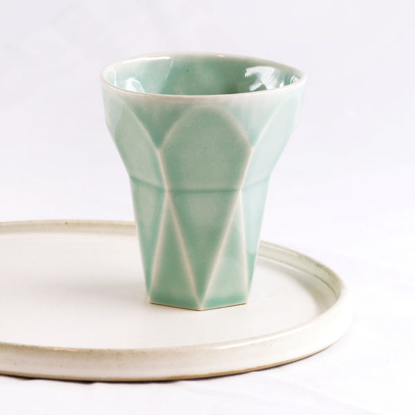 Saved for Michael - Havdalah Set - Light Green Ceramic Cup, Candle holder, Spices Besamim  Holder and Cream Plate
