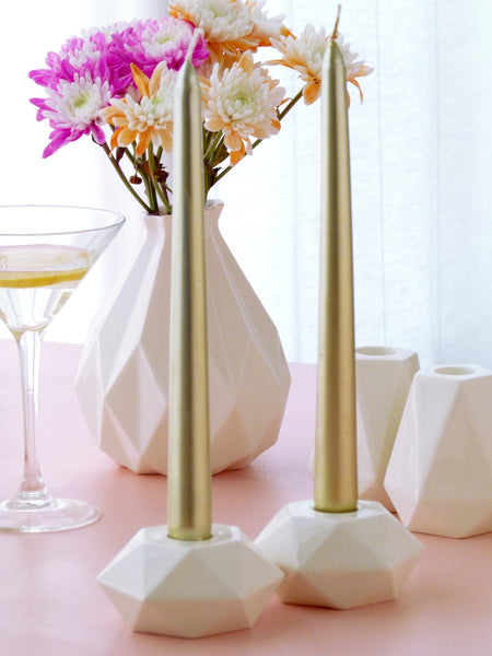 Shabbat candle holders, flat hexagon white ceramic with tall gold candles