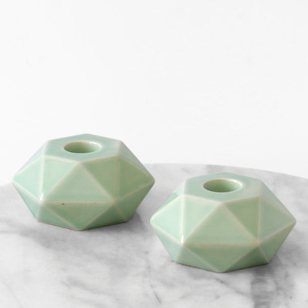 Shabbat candlesticks - ceramic, Pale - green, hexagon shape, Handmade in Israel