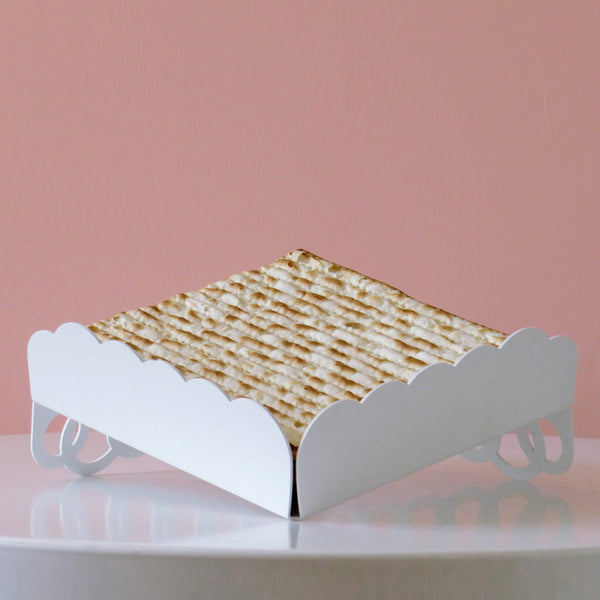 Minimalist Matzah tray- Passover Hostess gift - White Metal with Rings Pattern - Made in Israel