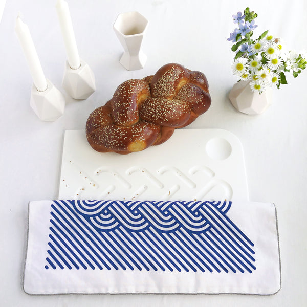 minimalist Challah board - white Corian with op art challah cover