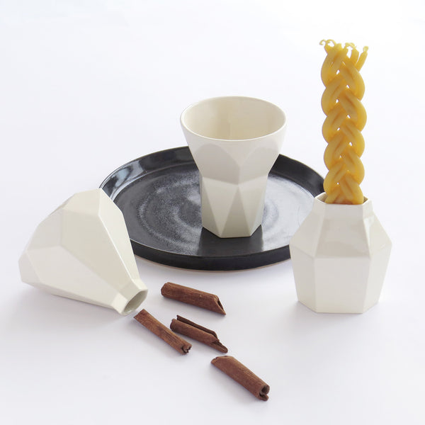 Modern Judaica Havdalah Set in white ceramic