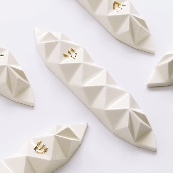 "Modern mezuza white with gold ""shin"", geometric ceramic"