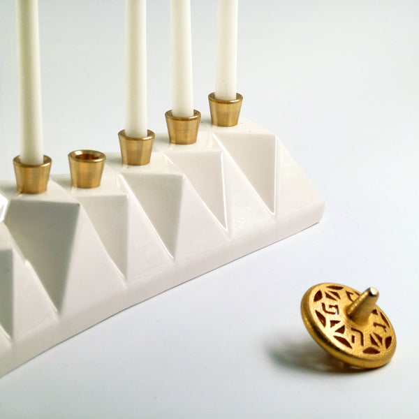 Hanukkah Oil Menorah, White ceramic, Origami style