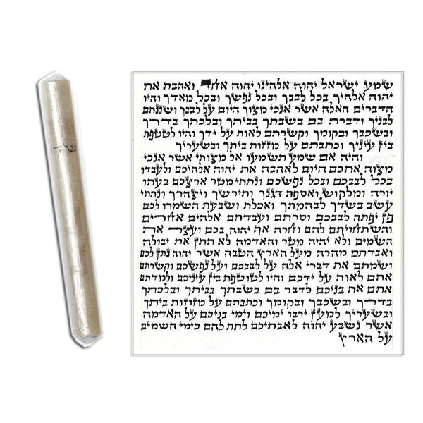 Mezuzah case - White gold/silver/white 'Shin' - Small size - for 2.7'' scroll