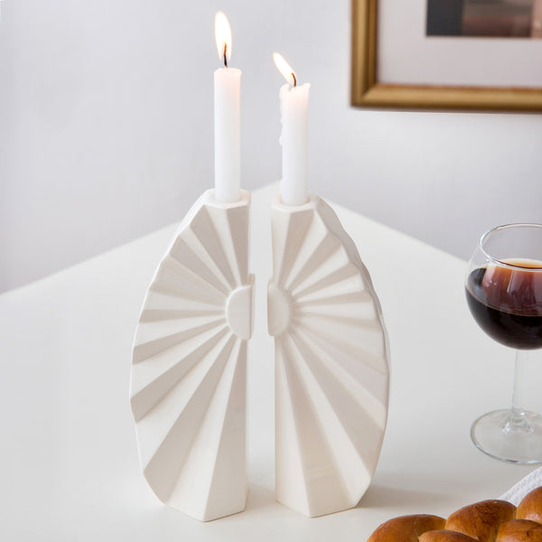 White Shabbat candlesticks handmade of ceramic inspired by origami