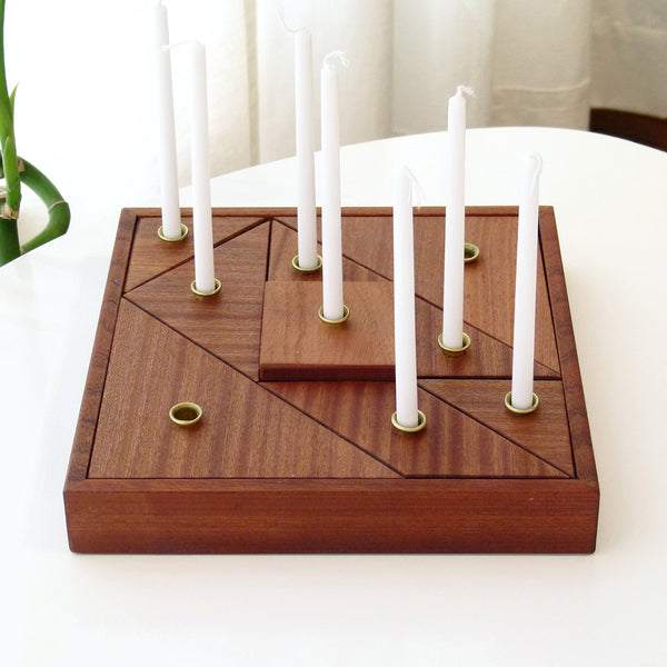 Modular wood Hanukkah Menorah inspired by Tangram puzzle