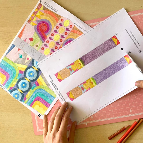 purim flag - creative activity coloring and assembling vashti and esther flag