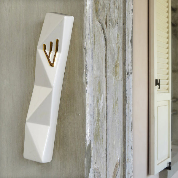 XL Mezuzah Case for Front Door - White with Gold Shin -  for 6'' scroll
