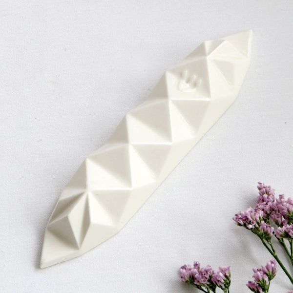 Modern Mezuzah case - White Ceramic - Origami Style - Medium size - for 4''/10cm scroll