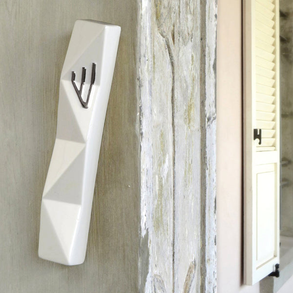XL Mezuzah Case for Front Door - White with Silver Shin -  for 6'' scroll