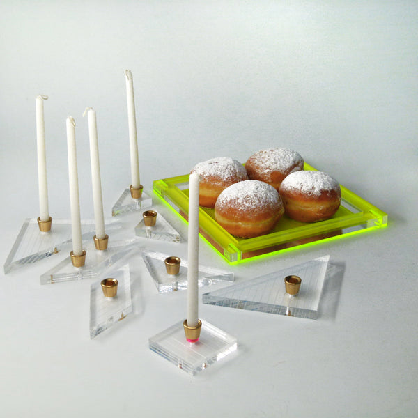 Tangram Hanukkah Menorah - Neon Yellow Acrylic Modular Chanukaih - for Wax Candles  ** Special Price for a New Arrival **
