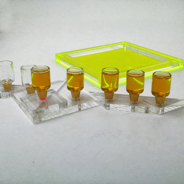 Tangram Hanukkah Menorah - Neon Yellow Acrylic Modular Chanukkiah - for Oil or Wax Candles  ** Special Price for a New Arrival **