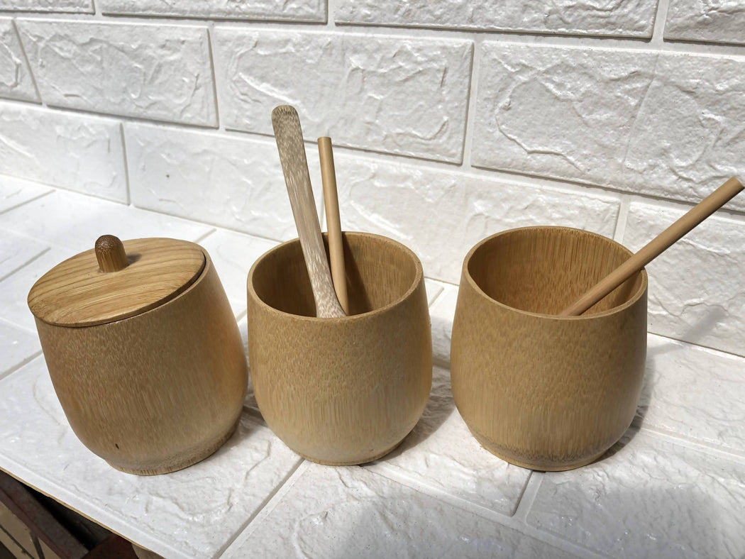 Set of 6 Reusable Natural Bamboo Straws and 1 Coconut Fibre Cleaning Tool (10mm to 12mm diameter)