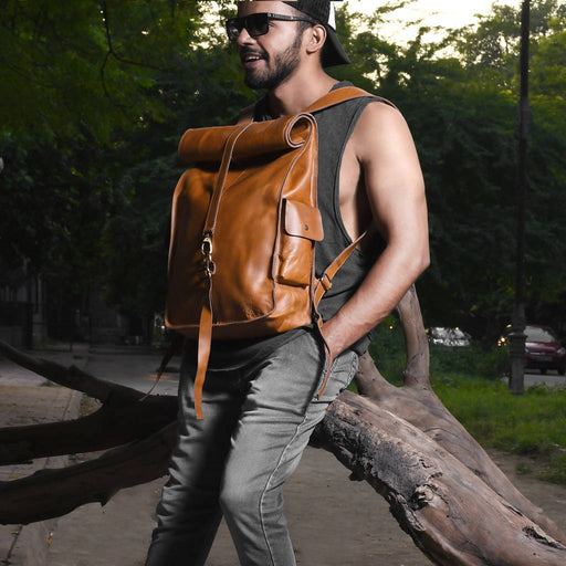 107 Rolltop Leather Backpack