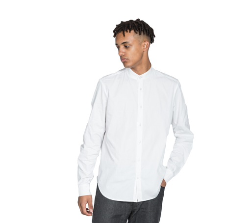Rozenbroek Men's Organic White Long Sleeve Shirt with Grandad Collar