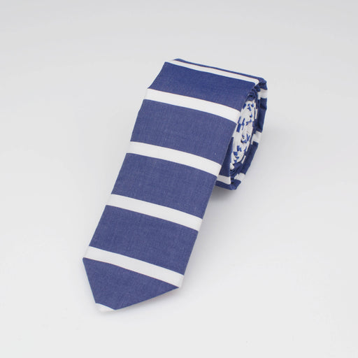 Jetti Blue Stripe Cotton Tie