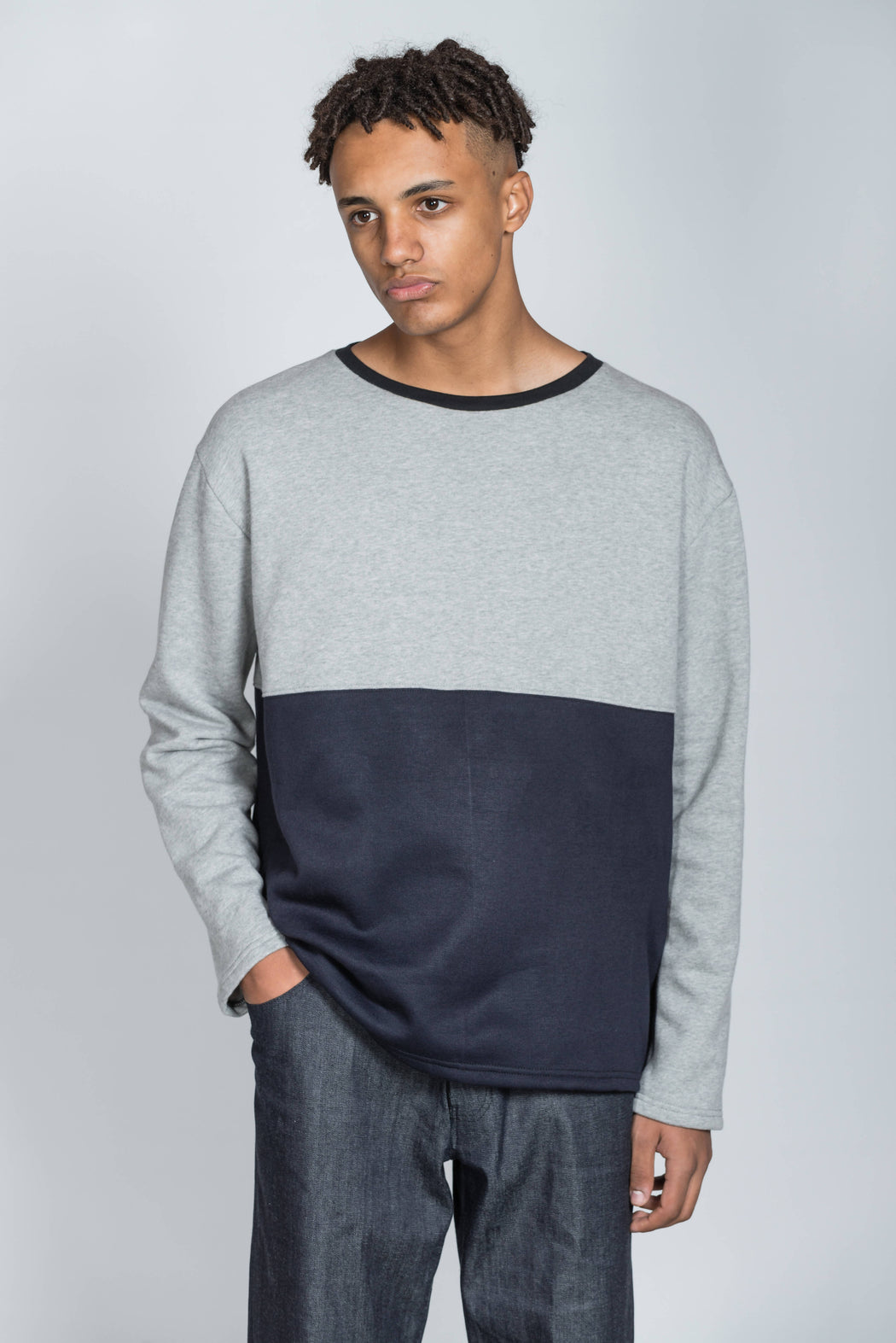 Rozenbroek Men's Grey and Black Colour Block Sweatshirt