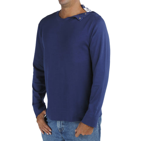 B.e Quality Men's LONG SLEEVE CREW T-SHIRT WITH OPENING ON THE SHOULDER