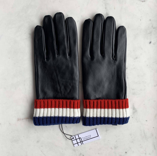 Frederick Sheppard Men's Red White Blue Knitted cuff black leather gloves